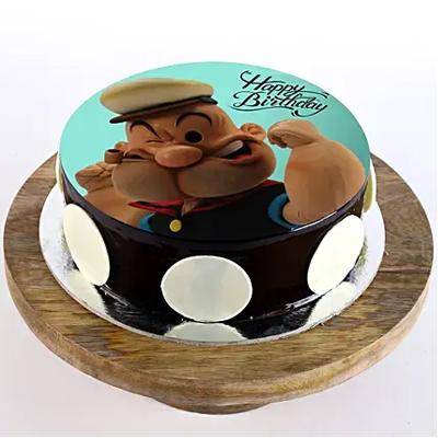 Popeye Cartoon Chocolate Photo Cake