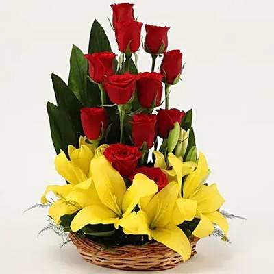 Asiatic Lilies & Red Roses Cane Basket Arrangement