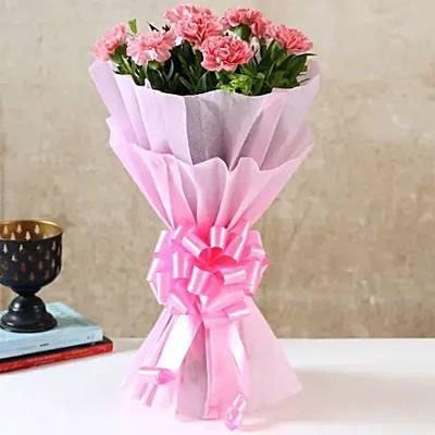 Beautiful 8 Pink Carnations Bouquet