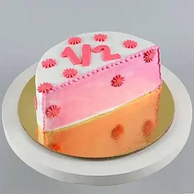 Cute flowery half cake – 500 GMS