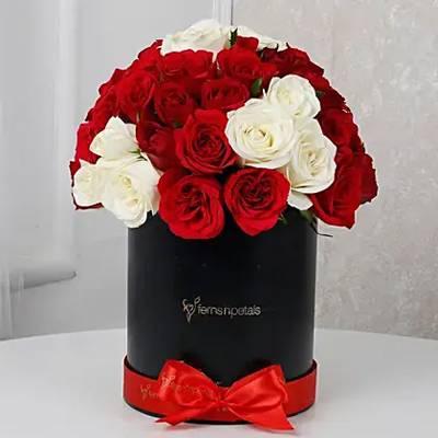 White & Red Roses Box Arrangement