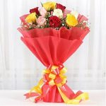 Colourful 12 Mixed Roses Bouquet