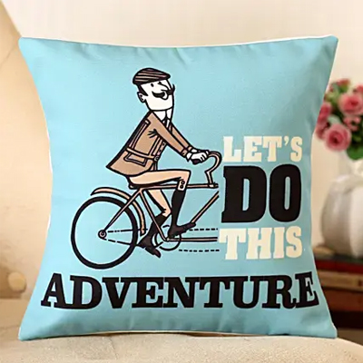 Let's Do The Adventure Printed Cushion