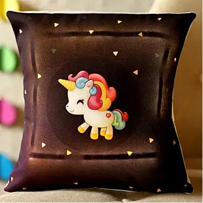 Happy Unicorn Printed LED Cushion