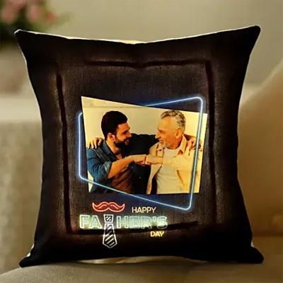 Fathers Day Personalised Black LED Cushion