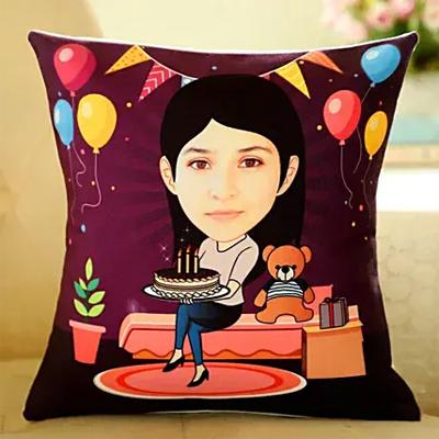 Caricature Personalised Birthday Cushion