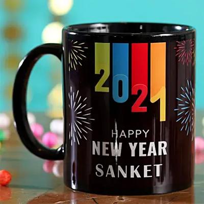 Personalised New Year 2021 Black Mug
