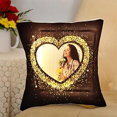 Blingy Heart Personalised LED Cushion