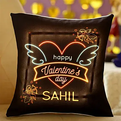 Happy Valentines Day Personalised LED Cushion
