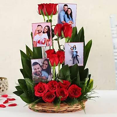 Personalised Red Roses Basket Arrangement