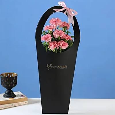 Pink Carnations in Black FNP Sleeve Bag