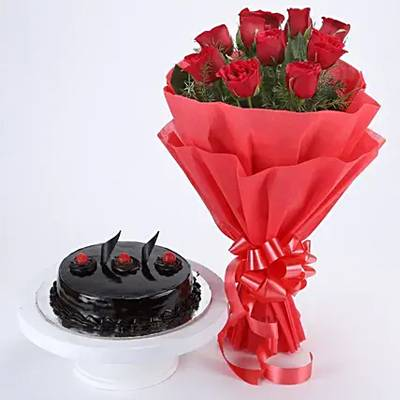 Red Roses with Cake Standard