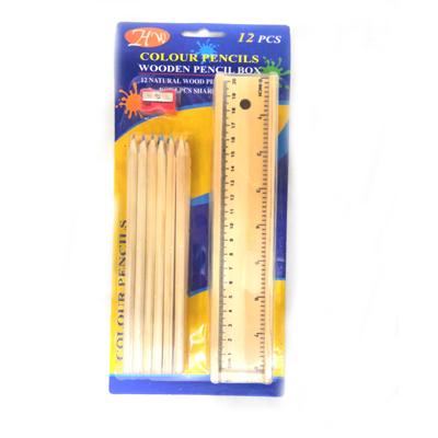 Wooden Colour Pencil Box Package Includes 12 Colour Pencils