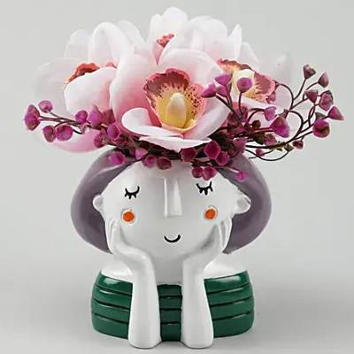 Thoughtful Pink Artificial Iris Blossoms Vase