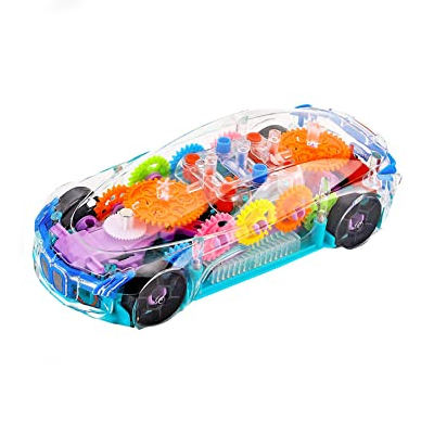 zest 4 toyz concept musical and 3d lights kids transparent car, toy for 2-5 year kids
