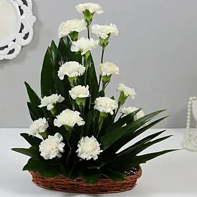 White Carnations Cane Basket Arrangement
