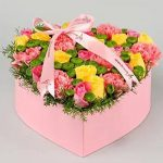 Cheerful Roses & Carnations In Heart Shaped Box