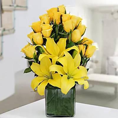 Yellow Roses & Asiatic Lilies Vase Arrangement