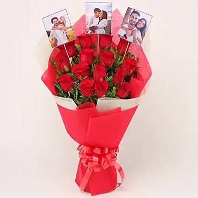 Personalised 15 Red Roses Bouquet