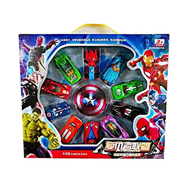 Metro Toy'S & Gift Children's Avengers Alliance Toy Cars Skiing Mini-Alloy Car Models Spider-Man American Captain for Boys Gifts